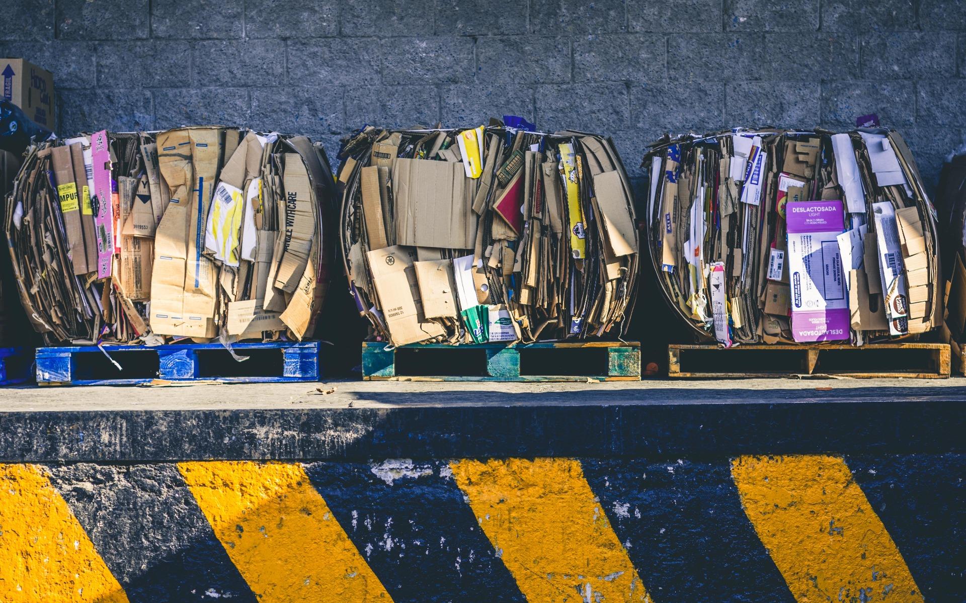 Packaging in a waste bin