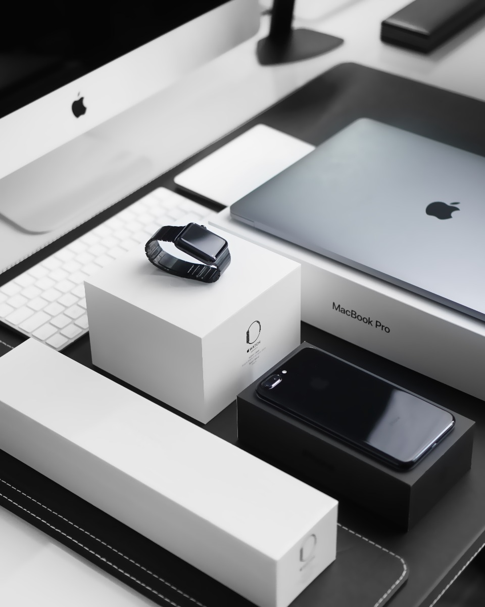 Apple iPhone, watch and ipad with boxes