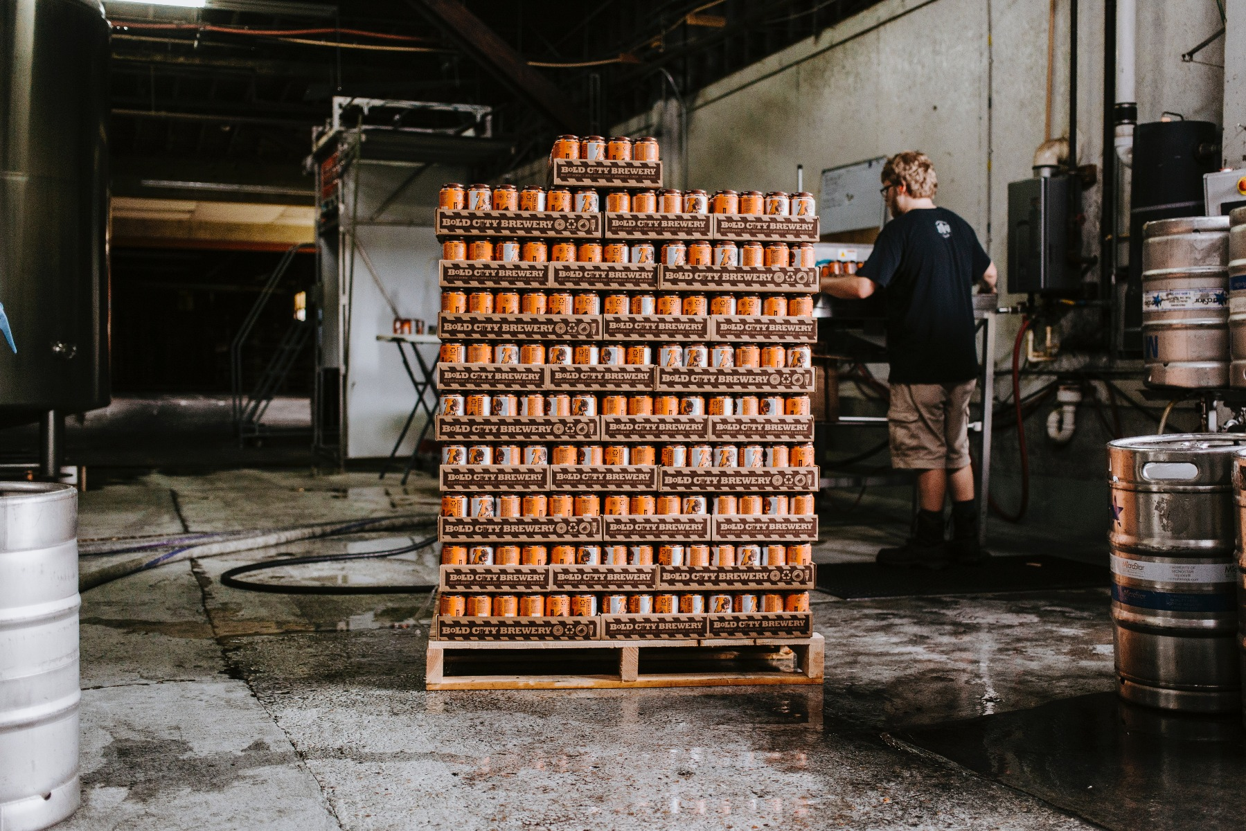 Cans on a pallet